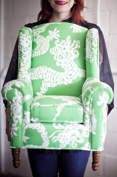 Spruce Upholstery, Austin Miniature Upholstered Wingback Chair Is DARLING