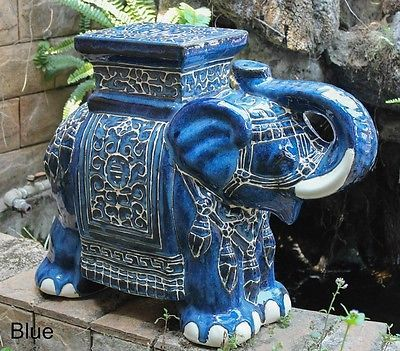Porcelain Garden Stool Ceramic Elephant Plant Stand Accent Table Patio Blue  NEW
