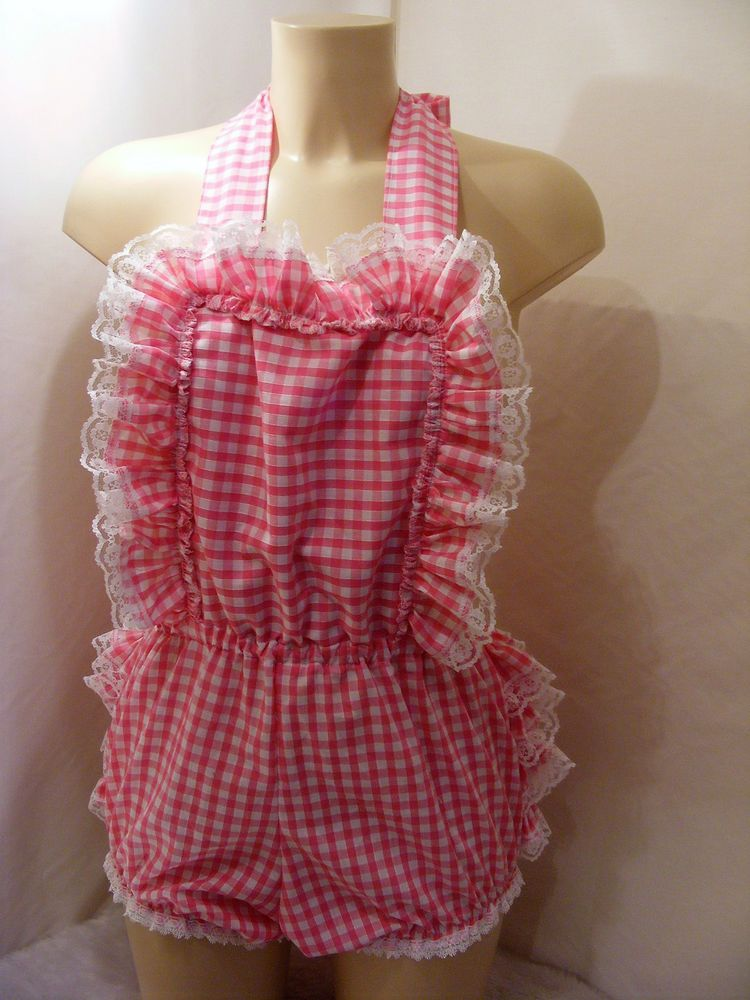 31170e88ccf4 Adult baby sissy pink gingham romper sun suit dungeries w proof ...