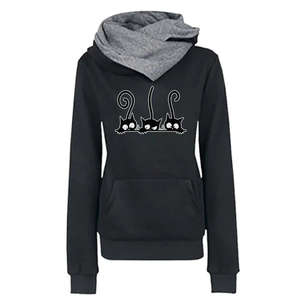 Hoody Women Casual Cat Printing Long Sleeve Pullover Shirts Tops Blouse Sweatshirt Female Tops Hoodie Sweatshirt Women #D8 – Black / XL / China