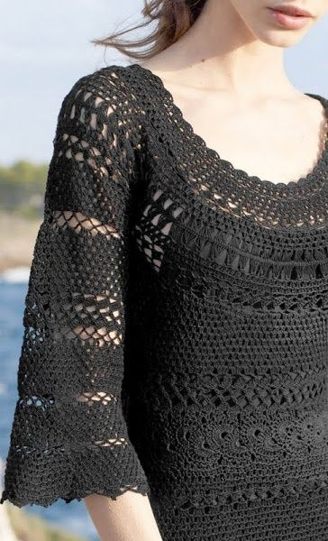 Chorrilho de ideias: Vestido meia manga e decote redondo preto em croch...