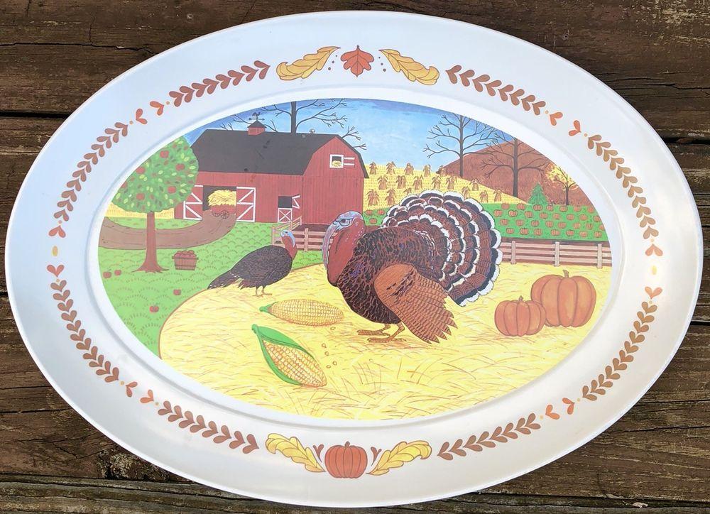 Vtg Brookpark Melamine Turkey Platter Thanksgiving Melmac Farm Scene