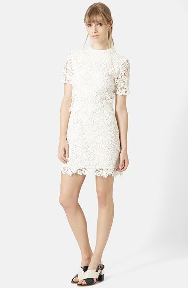 Free shipping and returns on Topshop Daisy Lace Overlay Sheath Dress at Nordstrom.com. A stunning lace overlay of 3D daisies lends lovely texture to a sheath dress in luminous white.