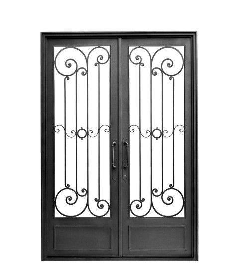 Puerta doble hoja recta dise o de hierro forjado for Diseno puertas hierro