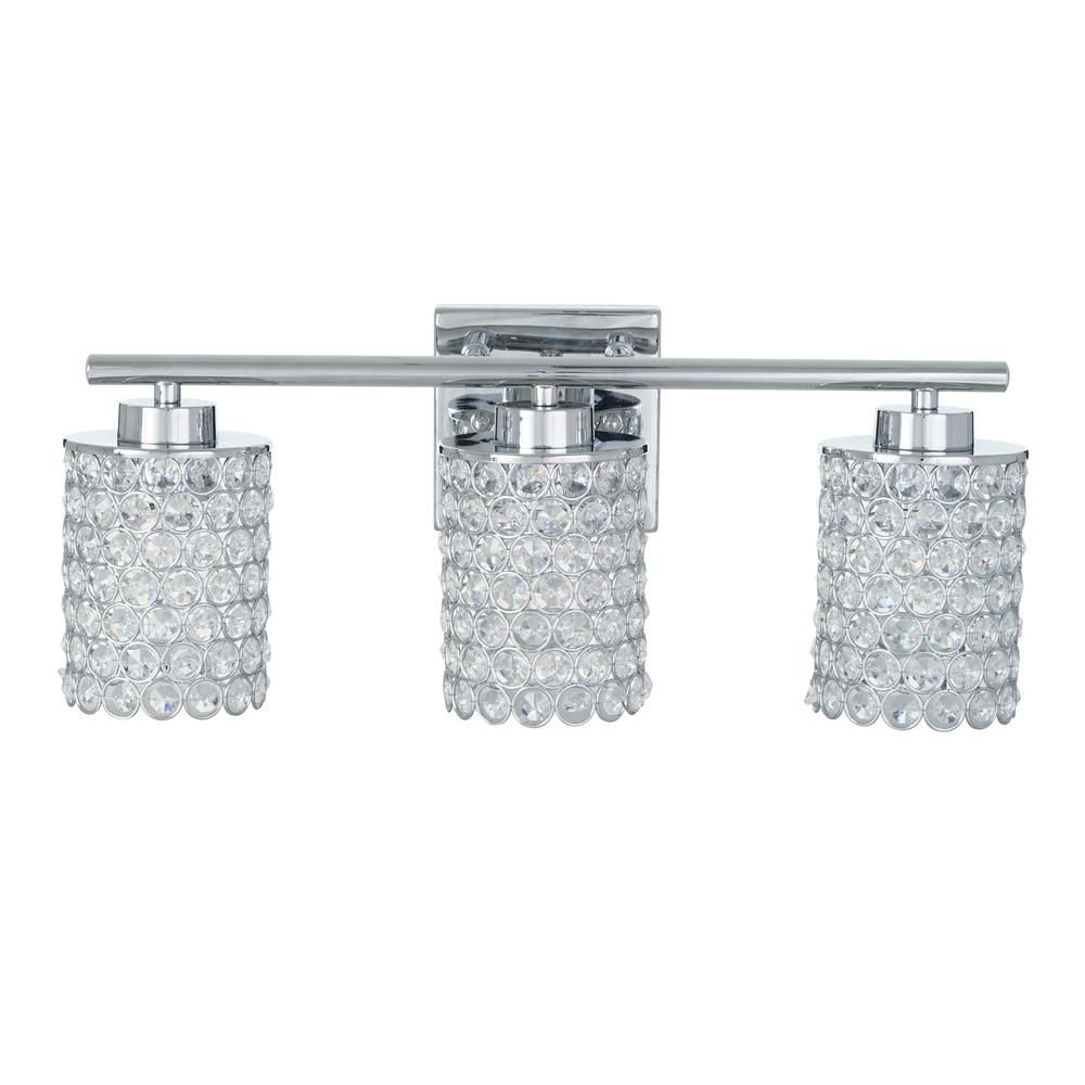 Alsy 3 Light Chrome Caged Crystal Vanity Bath Light 21088 001