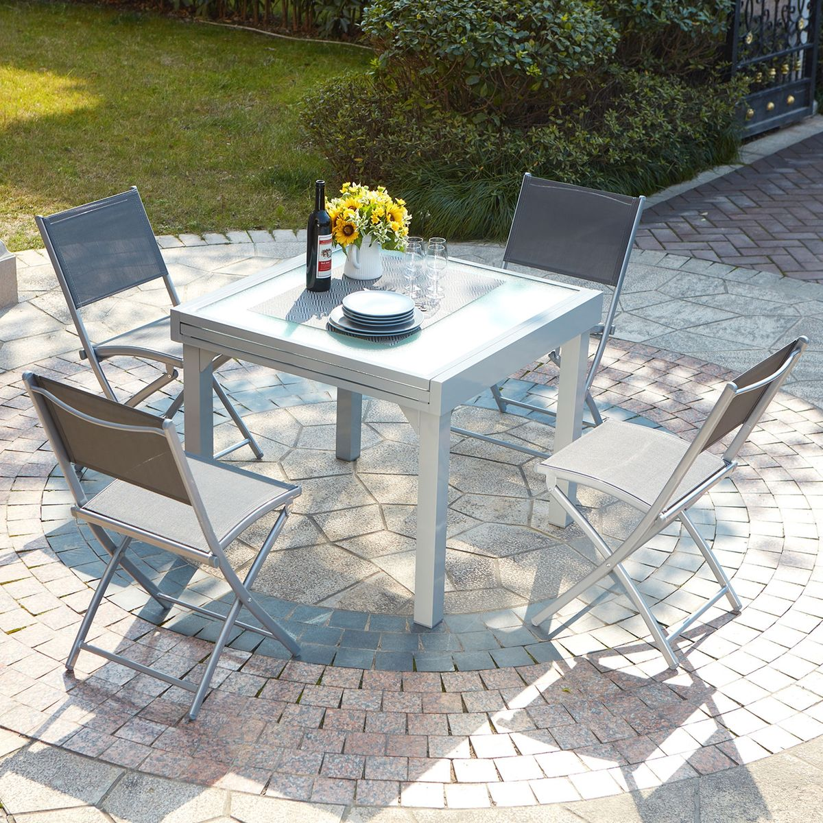 Table De Jardin Extensible Aluminium 8 Places + 4 Chaises ...