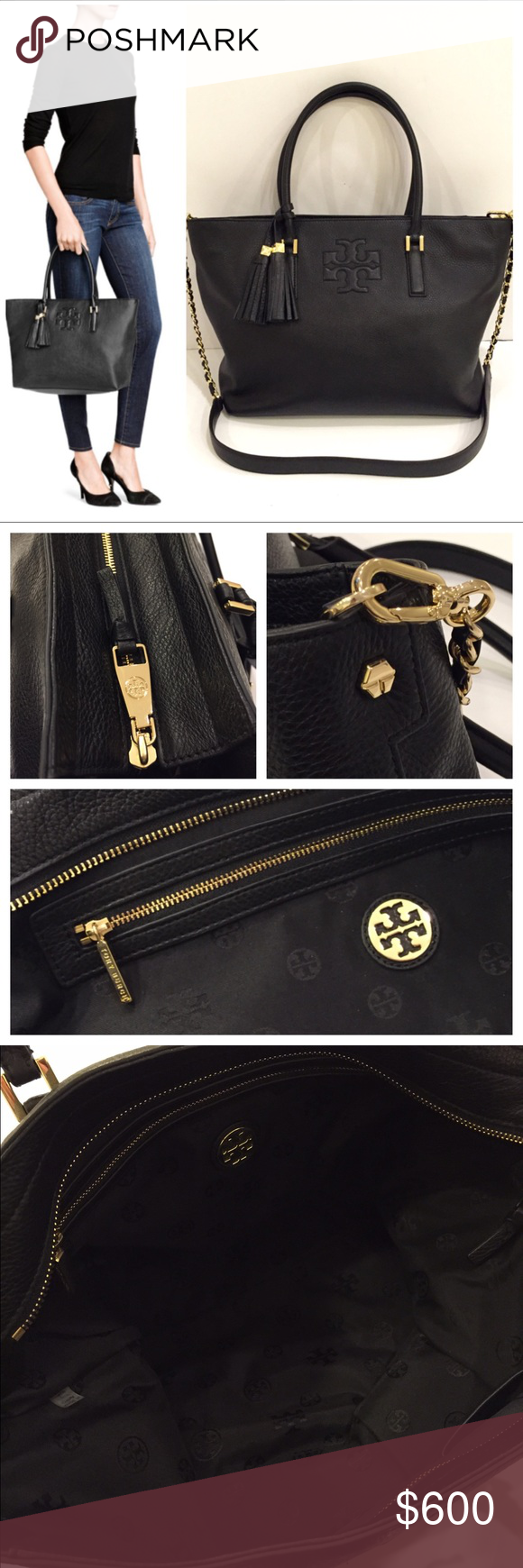 """Tory Burch Large Thea Convertible Tote Crossbody Tory Burch Thea Convertible Tote  Black/ Gold tone hardware   Made of pebbled Italian leather, with an optional cross-body strap for versatility. Designed with ample room for your essentials, a zippered top to keep belongings secure and gold chains for added polish, it's a multi-tasking style that can effortlessly take you from work to weekend.  Width (at base): 14"""" Height: 12"""" Depth: 5.25"""" Handle Drop: 7"""" Shoulder Strap Drop: 23""""    Excellent…"""