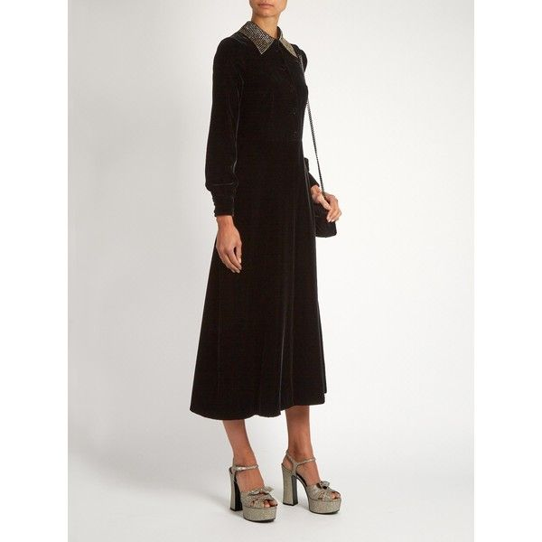 Saint Laurent Embellished-collar velvet midi dress ($4,950) ❤ liked on Polyvore featuring dresses, mid calf cocktail dresses, calf length dresses, midi cocktail dress, velvet cocktail dress and embellished collar dress