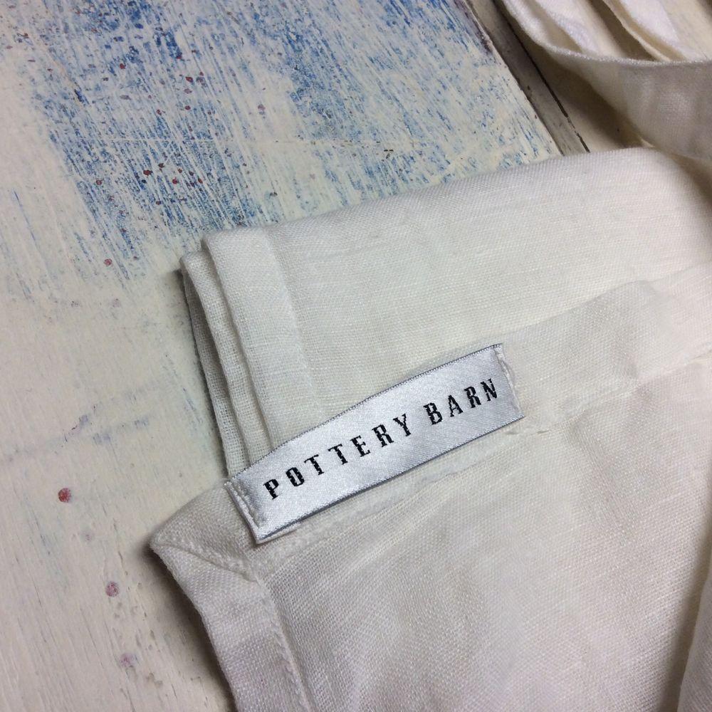 Pottery Barn Linen Drapes Pair 2 Sheer White Voile Panels