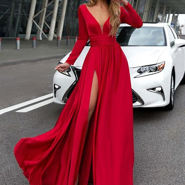 VNeck Long Sleevethe Sides Split Maxi Evening Dress - Prom dresses long with sleeves, Prom dresses with sleeves, Burgundy prom dress, Sexy red prom dresses, Chiffon evening dresses, Long sleeve prom - SKU INSFA95F08F8C88 Brand Name Ratecute Material Blend Sleeve Long Sleeve embellishment High Slit Pattern Type Plain Occasion Casual,Date,Party Season autumn,Spring,Summer,Winter Style Sexy Supplementary matters All dimensions are measured manually with a deviation of 2 to 4cm  bust waist hip inch cm inch cm inch cm S