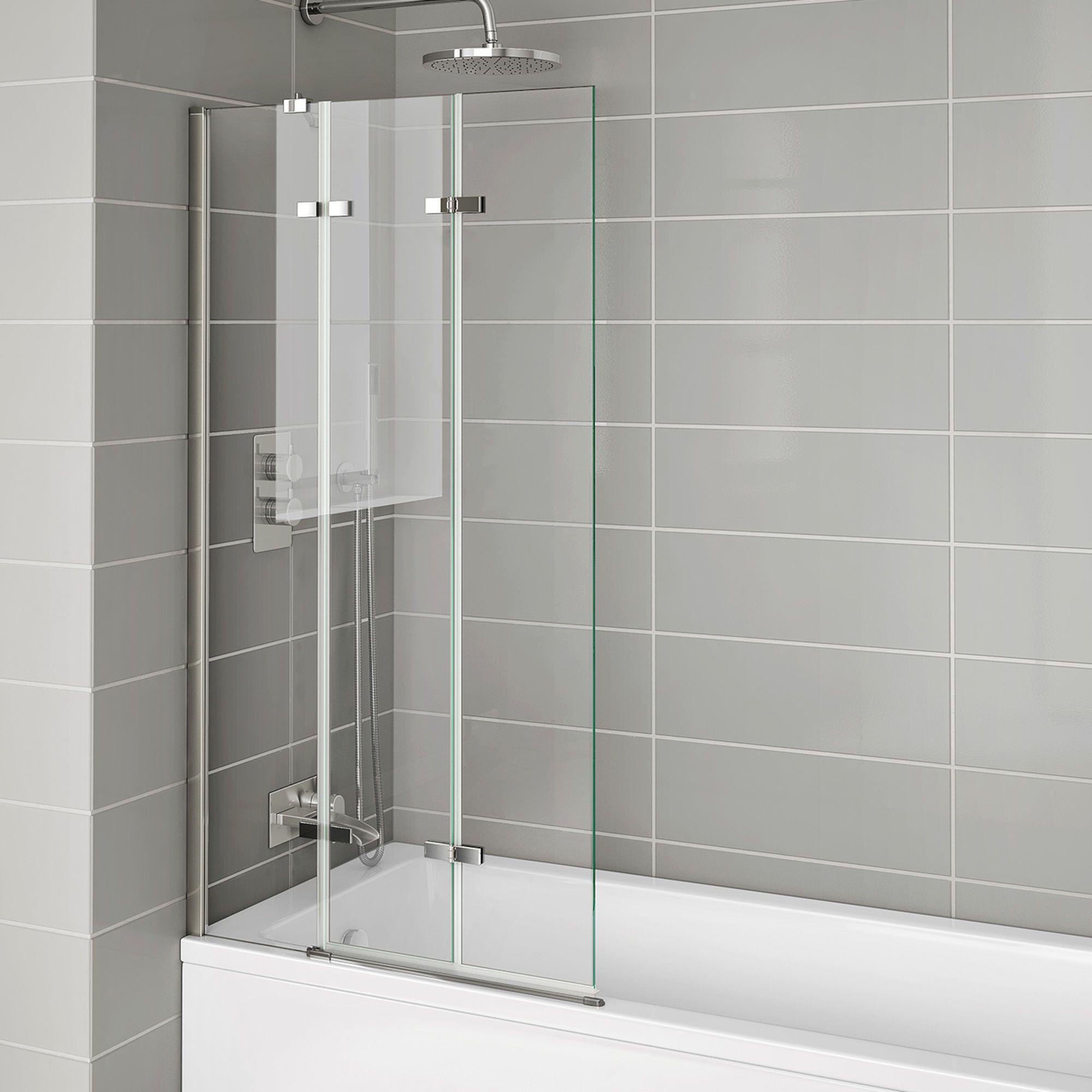 6mm Easyclean Folding Bath Screen Left Hand Bath Shower Screens Bath Screens Bathroom Shower Panels