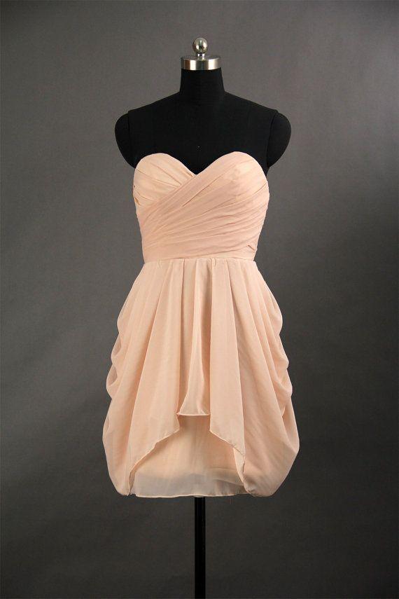 Sweetheart Chiffon Bridesmaid Dresses Pleat Short Bridesmaid Gowns ...