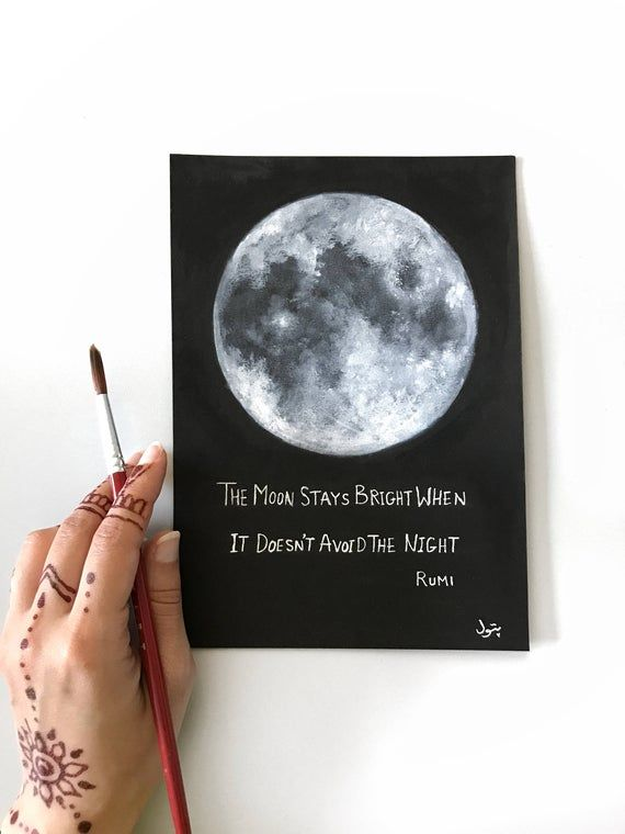 Moon Painting, Rumi, Space Art, Moon Phases, Original Painting, To the Moon, Full Moon, Moon Art, Space Art, Bohemian decor, Boho, Quotes