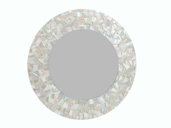All White Round Mosaic Wall Mirror By Greenstreetmosaics On Etsy 175 00 Mosaic Mirror Homedecor Wallde Mirror Wall Glass Mosaic Mirror White Glass Mosaic