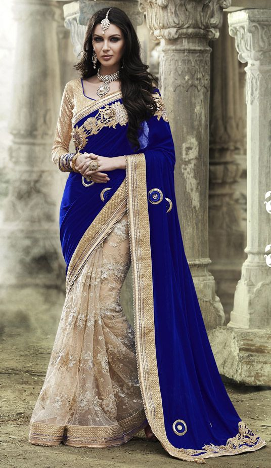 Photo of Royal Blue Velvet Half and Half Wedding Saree 47362