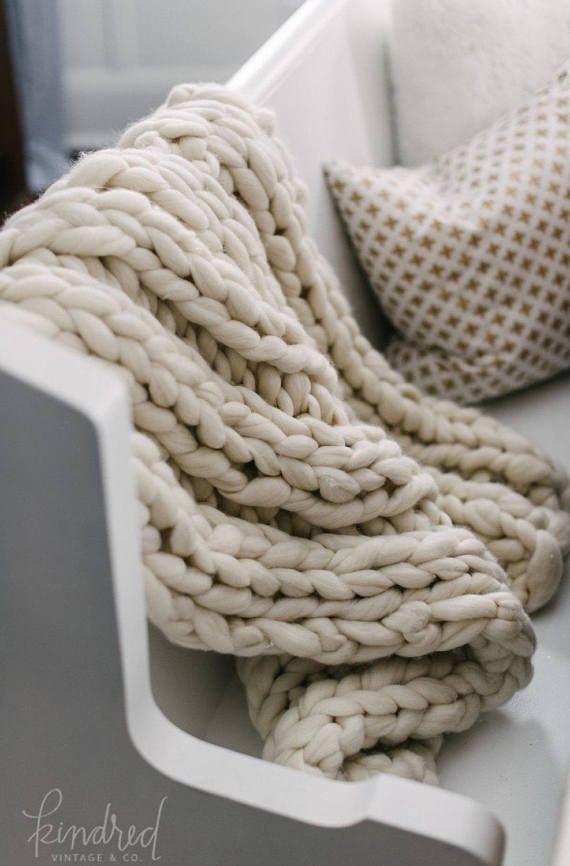 Chunky Knit Blanket Choose Size Pure Merino Throw Blanket Giant
