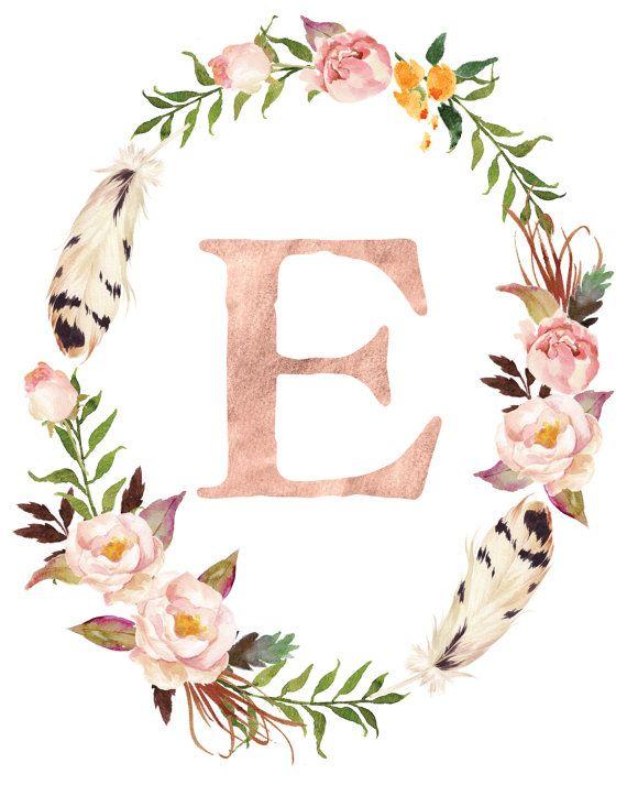 Rose Gold Monogram Letter - Baby Girl Blush Nursery - Printable Art - Baby Shower Gift - Nursery Wall Art Girl - Custom Boho Nursery Decor #ourkids