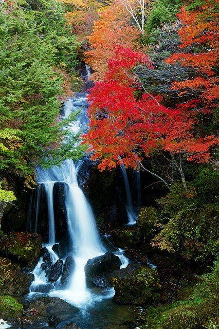 Ryuzu Falls In Nikko Japan Waterfall Beautiful Nature