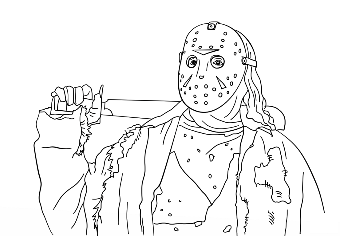 Jason Coloring Pages Friday The 13th Coloring Pages Cartoon Coloring Pages Jason Voorhees Drawing