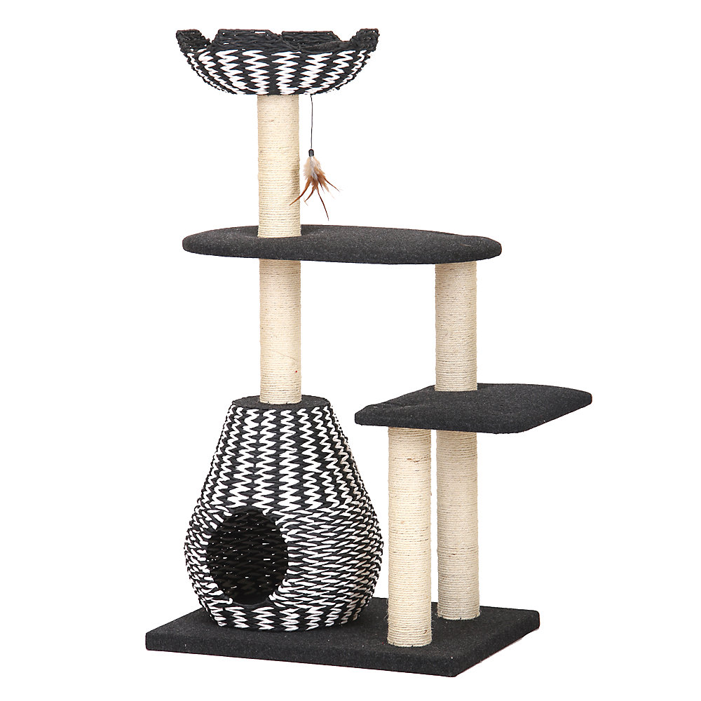 Petpals 49 In Contemporary Cat Tree With Recyclable Paper Rope Perch Condo Lounger Black White In 2021 Cat Condo Cat Tree Cat Furniture