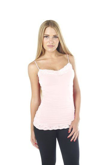 Hollywood Star Fashi Women's Lg Lace Trim Pla Spaghetti Strap Cami Tank