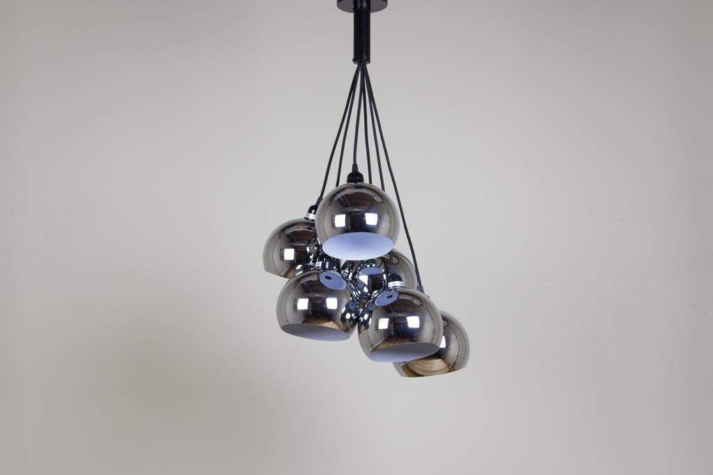 Candeeiro de Tecto Gleno com 6 Lâmpadas Prata