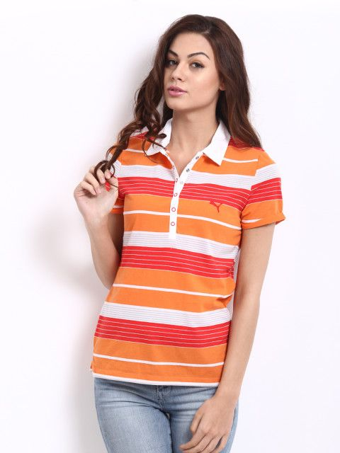 46d728167610 Buy Puma Women Orange   Red Striped Polo T Shirt - Tops for Women ...