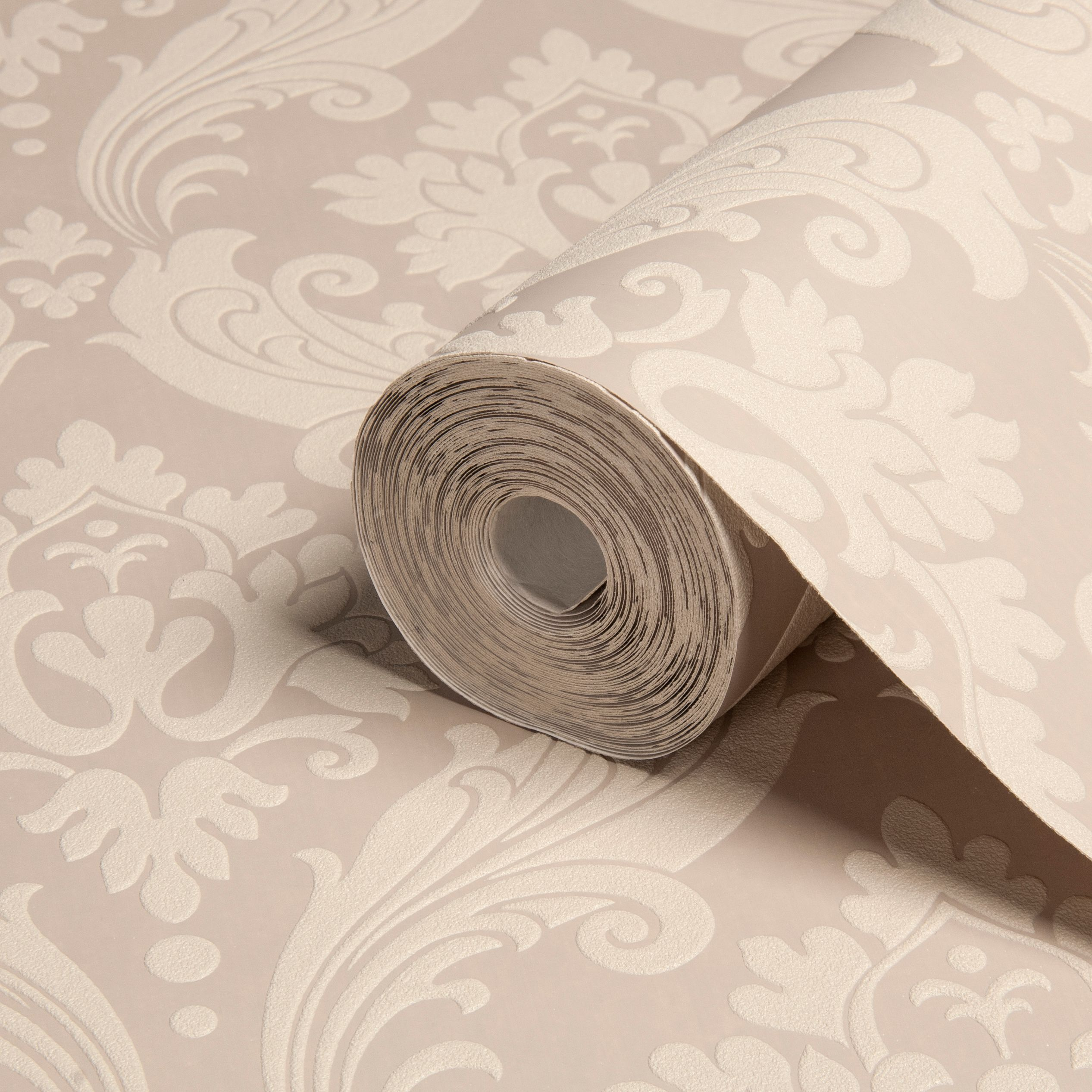 Graham Brown Kelly Hoppen Beige Damask Flock Wallpaper Bq For All Your Home And Garden Supplies And Advice On All The Latest Diy Trends