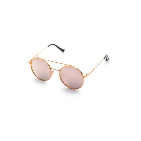 a521b21a59 SheIn(sheinside) Pink Flat Lens Double Bridge Round Sunglasses ( 11) ❤ liked  on Polyvore featuring accessories