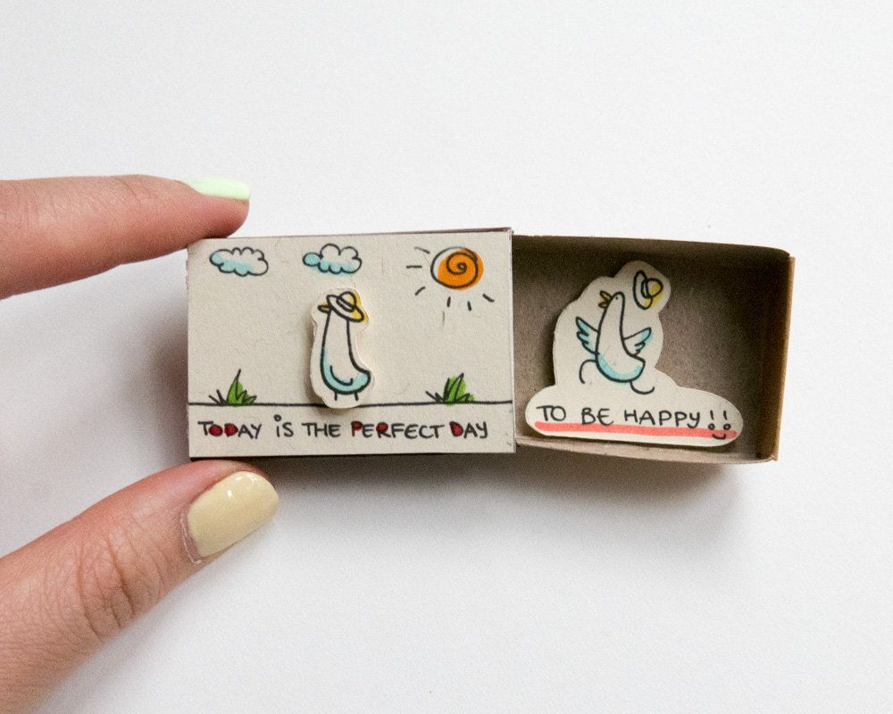 pinterest craft encouragement card inspiring card duck matchbox gift box message box today is the perfect day to be happy kristyandbryce Choice Image