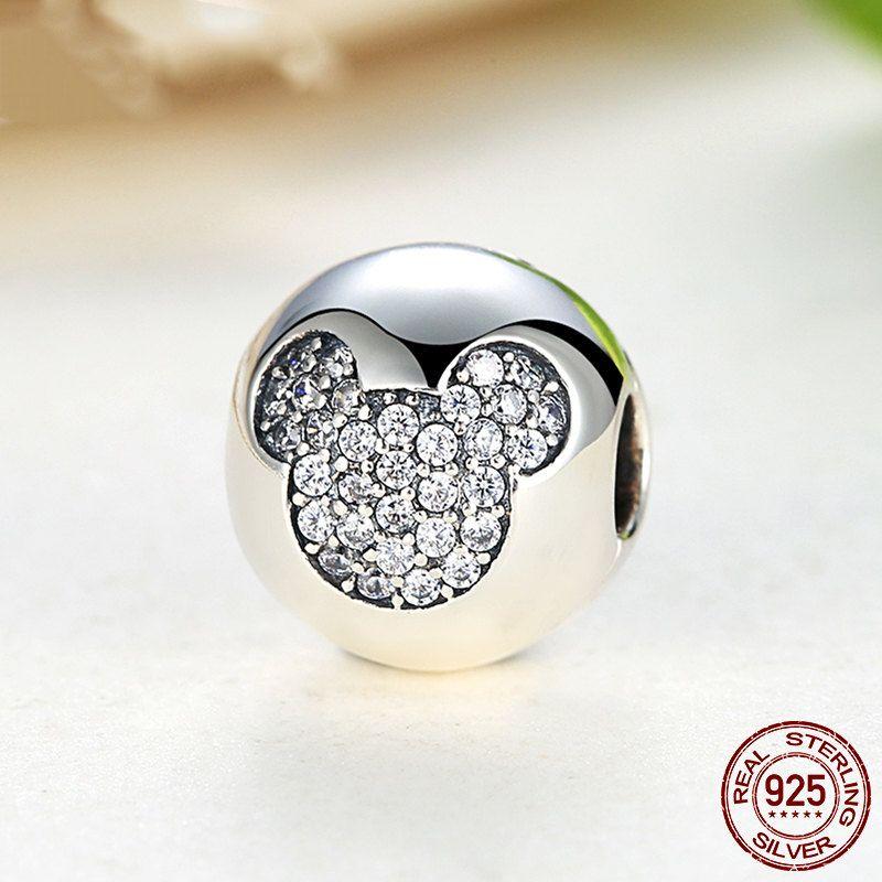Topolino in pave CZ clip, Pave Clip Mickey Charm Beads 100% argento 925 adatta a misure Pandora charm, beads e braccialetto europeo PAS192 di OceanBijoux su Etsy