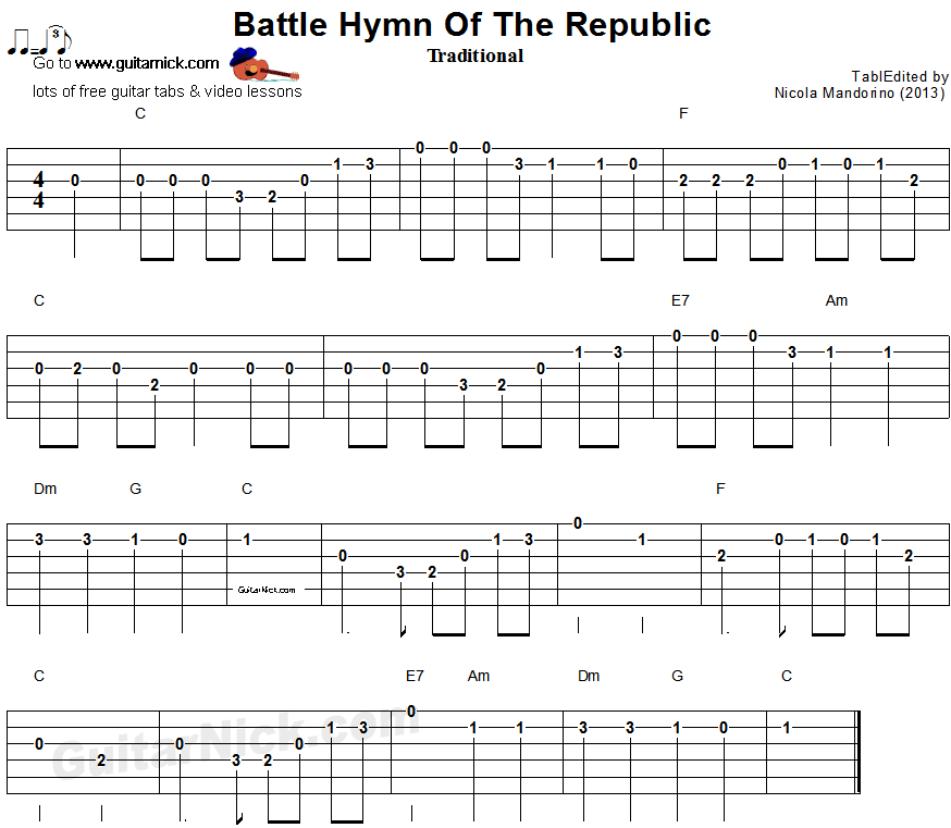 Battle Hymn Of The Republic Easy Guitar Tablature Guitar