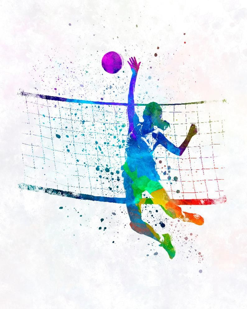 Woman Volleyball Player In Watercolor Fine Art Print Glicee Poster Home Watercolor Sports Gift Room Illustration Wall Sku 2314 In 2020 Volleyball Wallpaper Football Team Gifts Volleyball