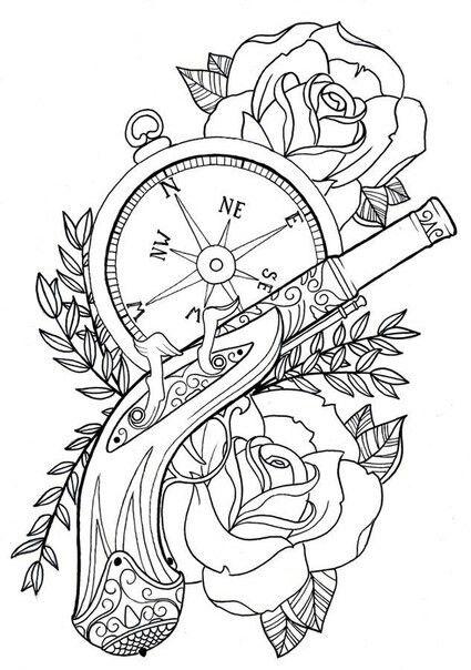 Farmer Tattoo Pistol Tattoos Deviantart Compass Design Pirate Flash Art Sketches Ideas