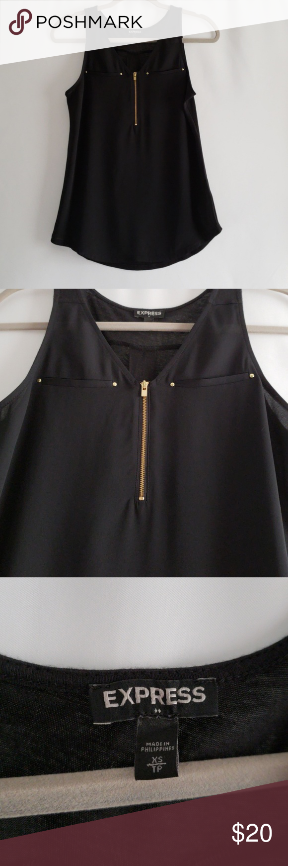 """Express Black Tank Express Black Satin Hudson Tank  Lovely for layering under jackets or topping a Columnist or Editor on its own, this dressy tank is four-season ready. The soft, satin front boasts faux pockets and a zipper, and connects at the shoulders to a super smooth knit back.  Deep V-neck with 5 1/2"""" zipper front detail  Two faux welt breast pockets with circle metal accents  Satin front, smooth knit back  Loose fit, curved hem  Polyester/Rayon  Excellent Condition Express Tops Tank Tops"""