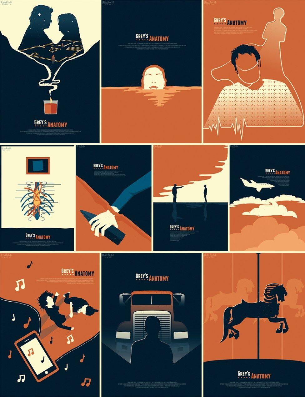 Ilustrações de episódios de Grey\'s Anatomy comemoram 12 anos da ...