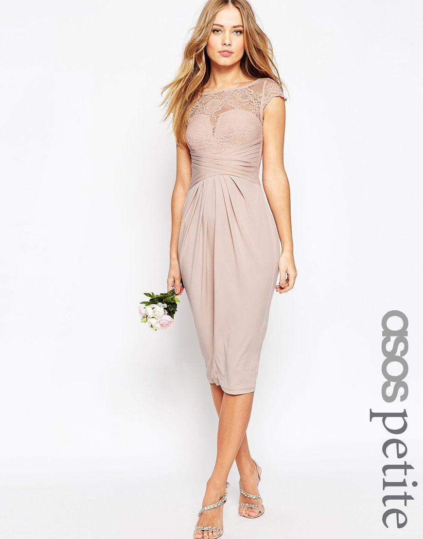 Image 1 of ASOS PETITE WEDDING Lace Top Pleated Midi Dress   arts ...