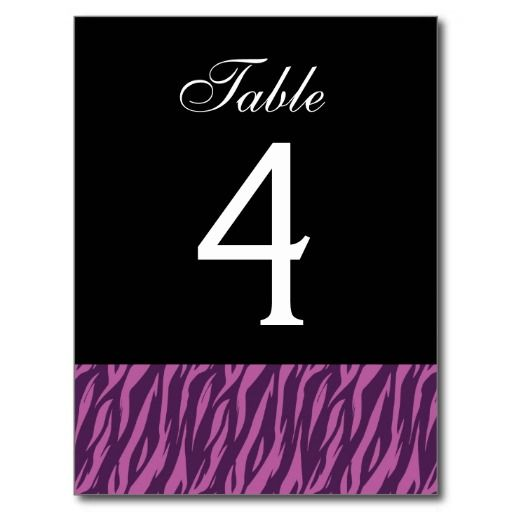 Purple Zebra Table Number Part of Set of 12 Postcard