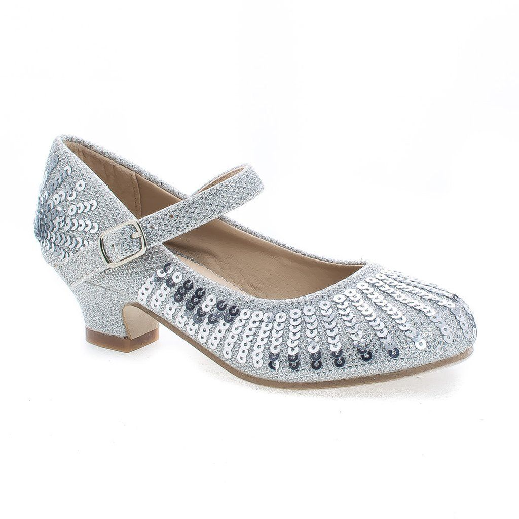 a2959399bced Dress up your toddler with these sparkling mesh and sequins mary jane dress  heels