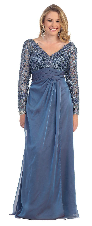 Long Sleeve Modest Lace Chiffon Plus Size Formal Long Evening Dress ...