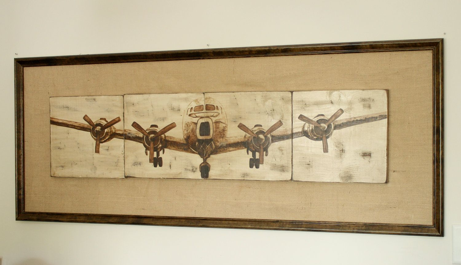 Airplane painted on 4 panels of pine wood, measuring 11.25x4. The ...