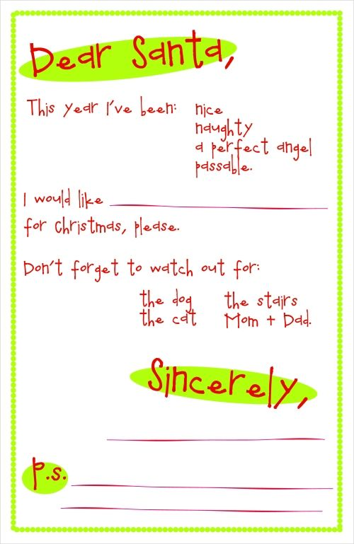 Free Party Craft Printable Letter To Santa Kids Ideas  Family