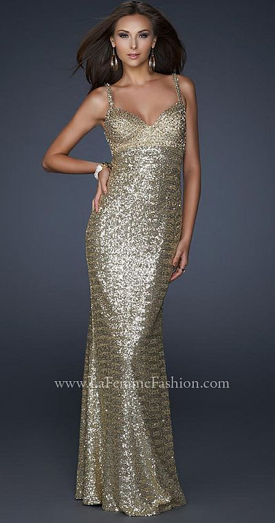 f4dc230b786f La Femme Gold Sequin Prom Dress with Beautiful Open Back 17658 in ...