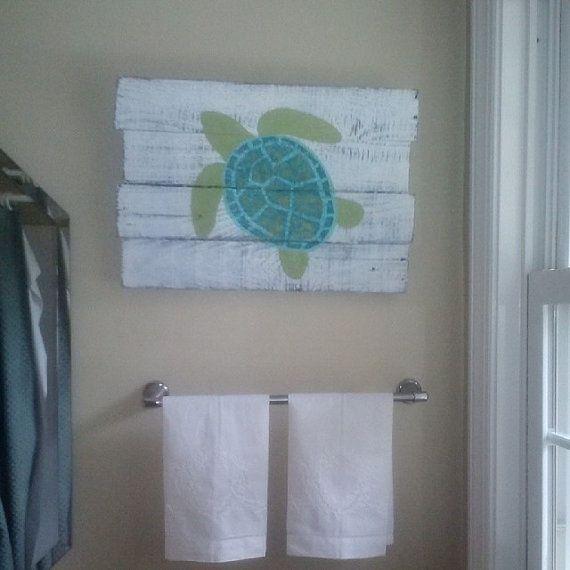 Distressed Sea Turtle Painting On Pallet Board By Palletartbytom Turtle Bathroom Turtle Decor Pallet Painting
