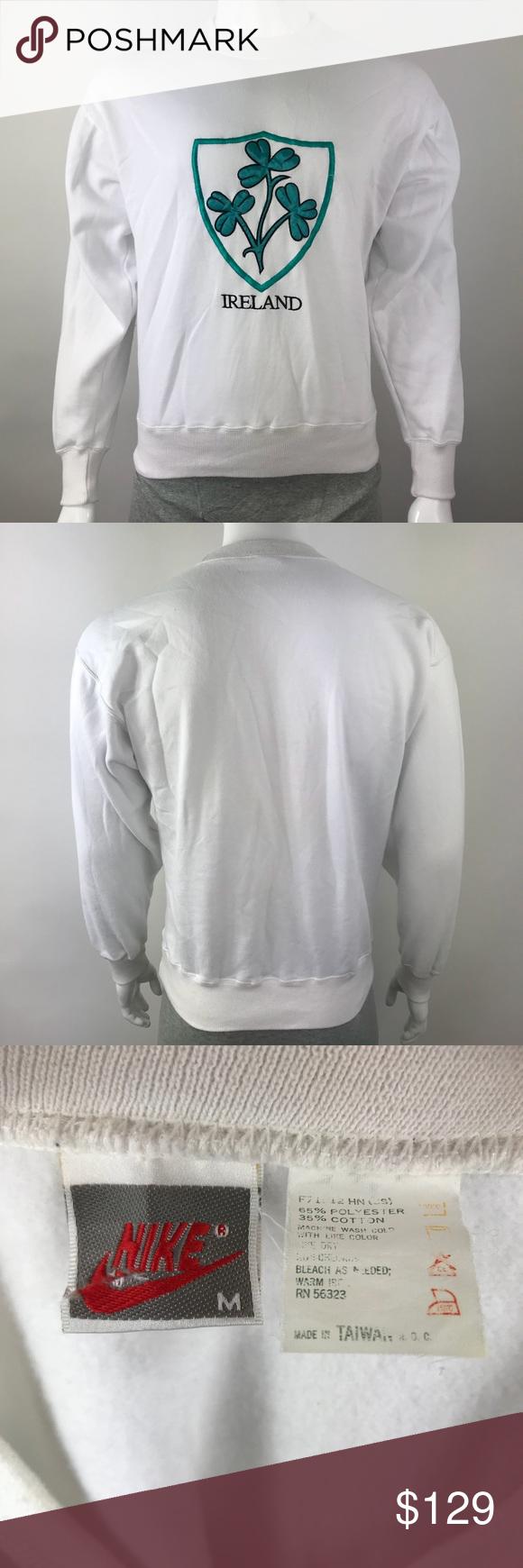 Vintage Nike Long Sleeve White Ireland Sweatshirt Vintage Nike Long Sleeve Ireland Sweatshirt Color White Us S Nike Long Sleeve Vintage Nike Clothes Design