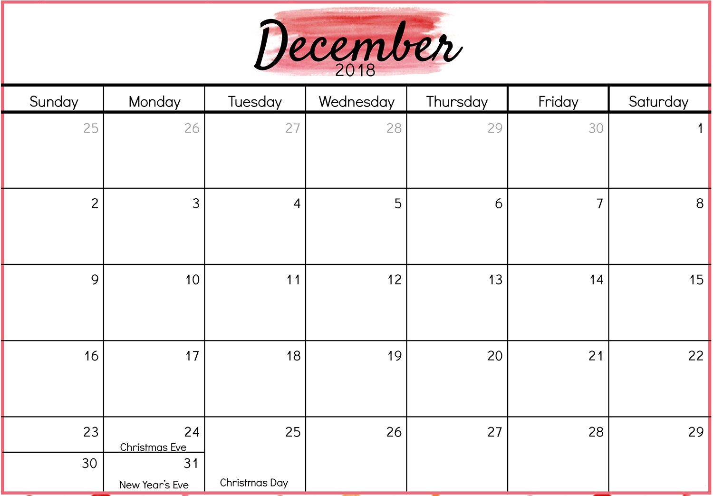December 2018 Calendar With Holidays Printable Calendar Usa Uk