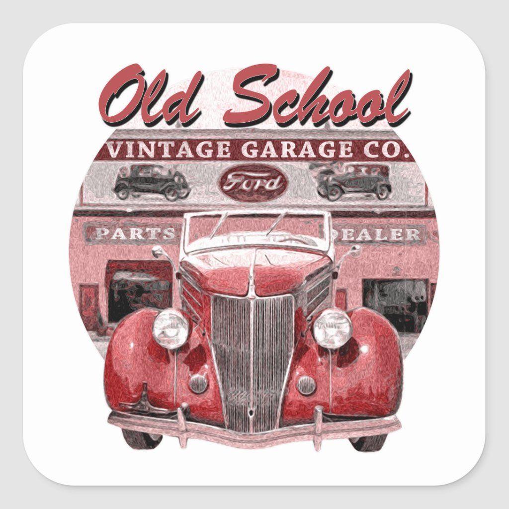 Old School Classic Car Square Sticker Zazzle Com Classic Cars Classic Trucks Old School [ 1024 x 1024 Pixel ]