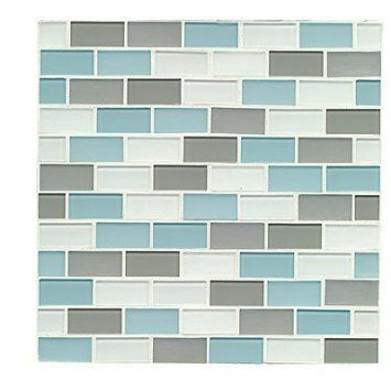 mosaic staggered joint gloss/matte combo tile in pacific