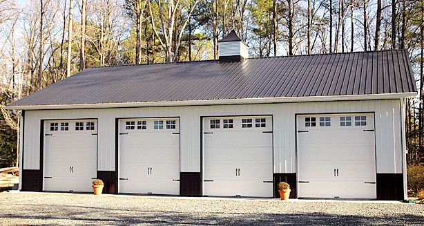 4 Door Garage In Cape May Nj Pitch Roof Charcoal Gray Trim Pole Buildings Barn Builders Building Construction