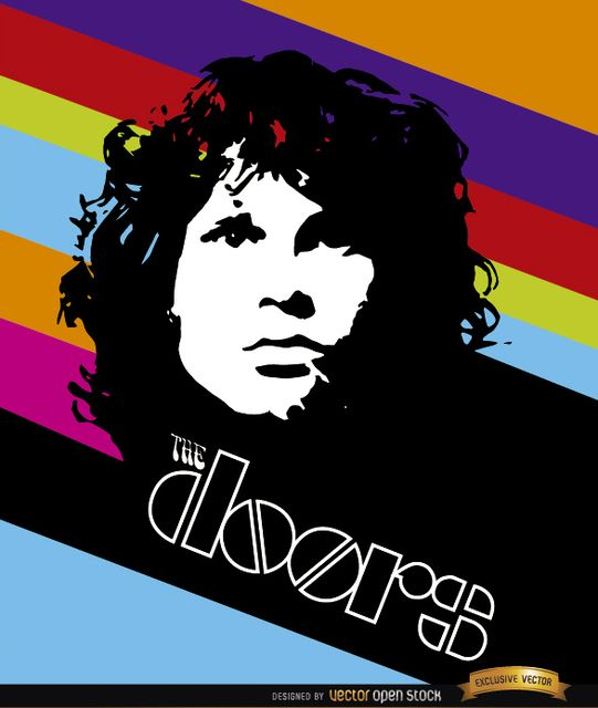 Jim Morrison Doors Color Stripes Poster Free Vector Jim Morrison Vector Free Rock Design